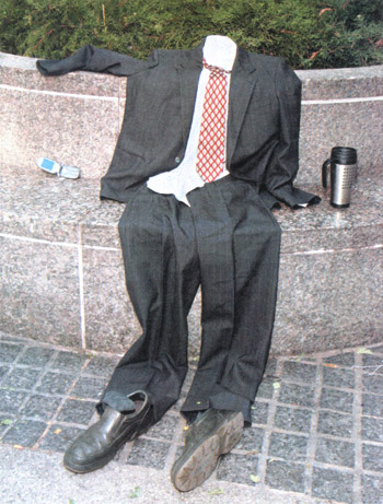 rapture suit on the park bench